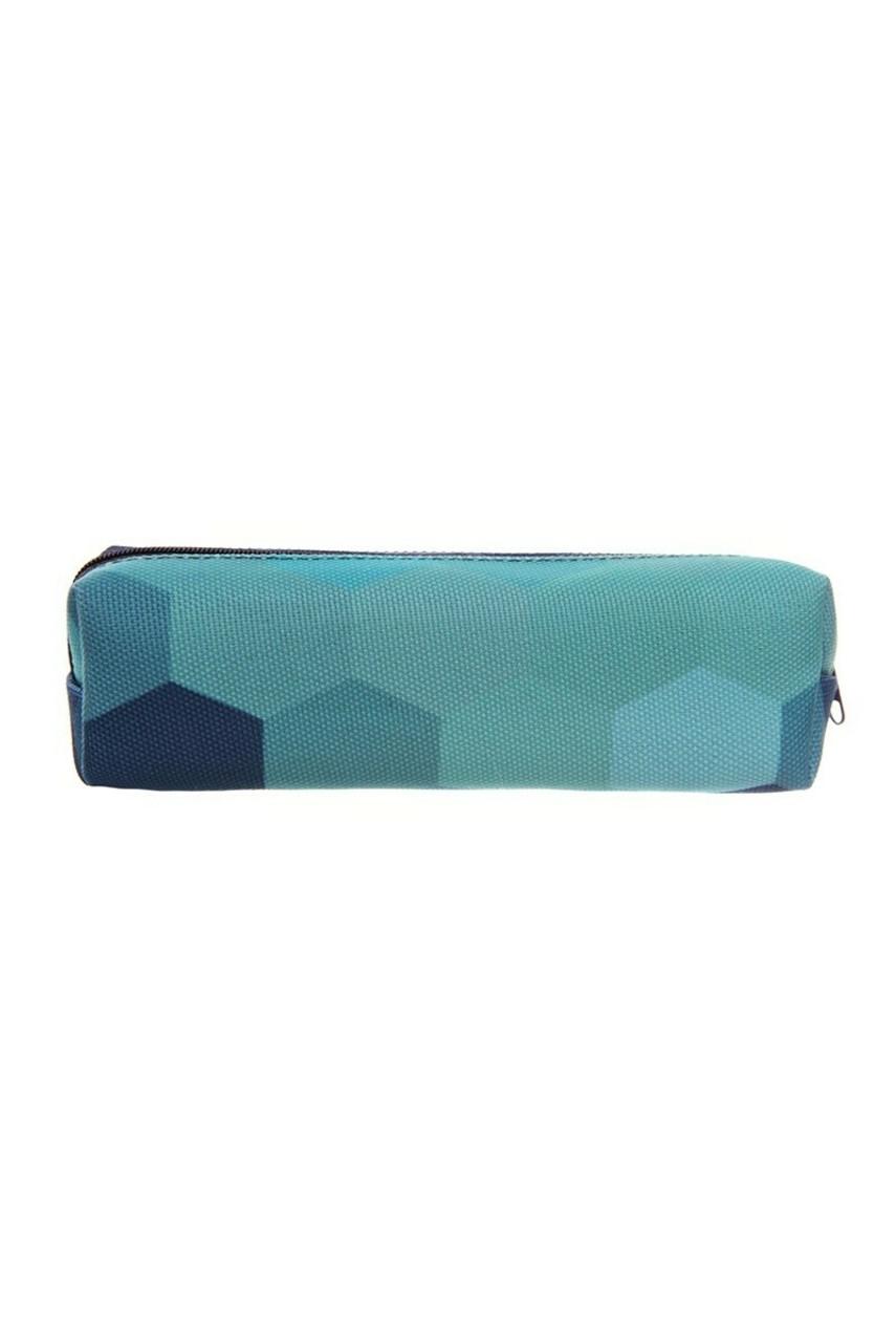 Green Hexagon Rectangular Graphic Print Pencil Cosmetics Case - 26 Assorted Styles