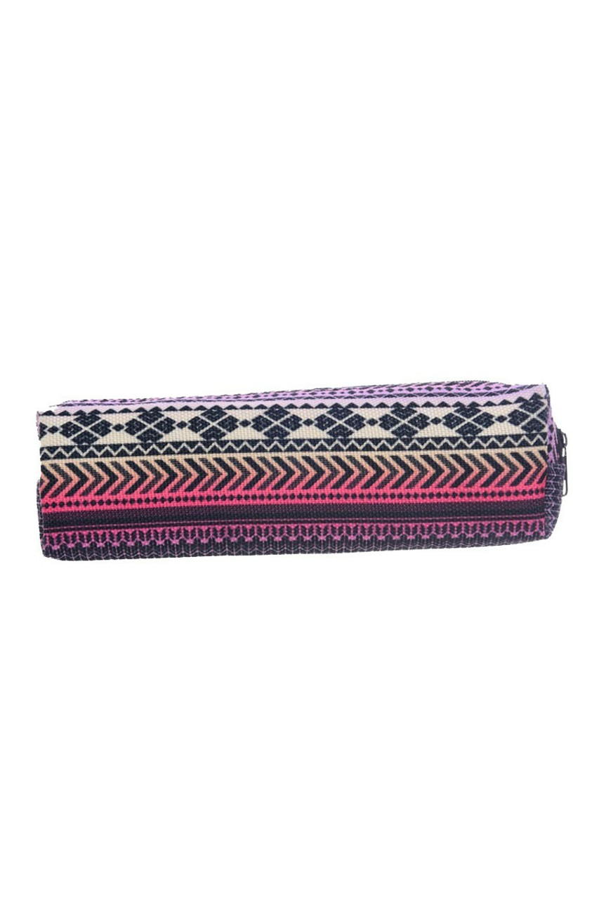 Pink Tribal Rectangular Graphic Print Pencil Cosmetics Case - 26 Assorted Styles