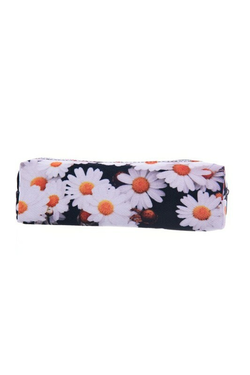 Daisy Rectangular Graphic Print Pencil Cosmetics Case - 26 Assorted Styles