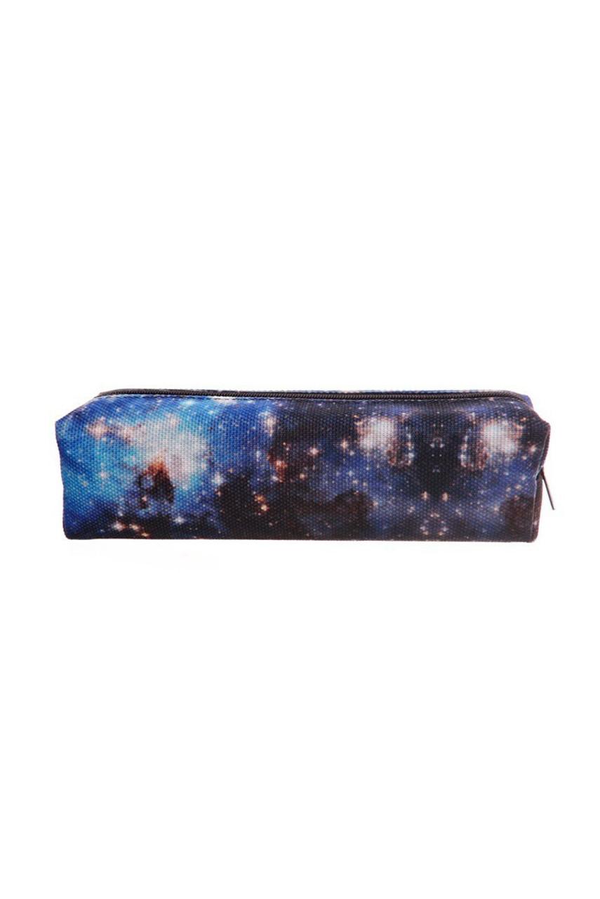 Blue Galaxy Rectangular Graphic Print Pencil Cosmetics Case - 26 Assorted Styles