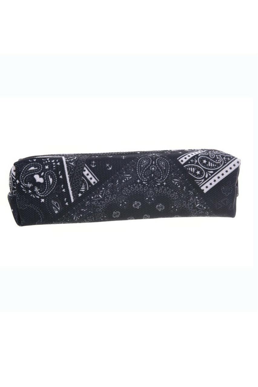 Black Folded Bandana Rectangular Graphic Print Pencil Cosmetics Case - 26 Assorted Styles
