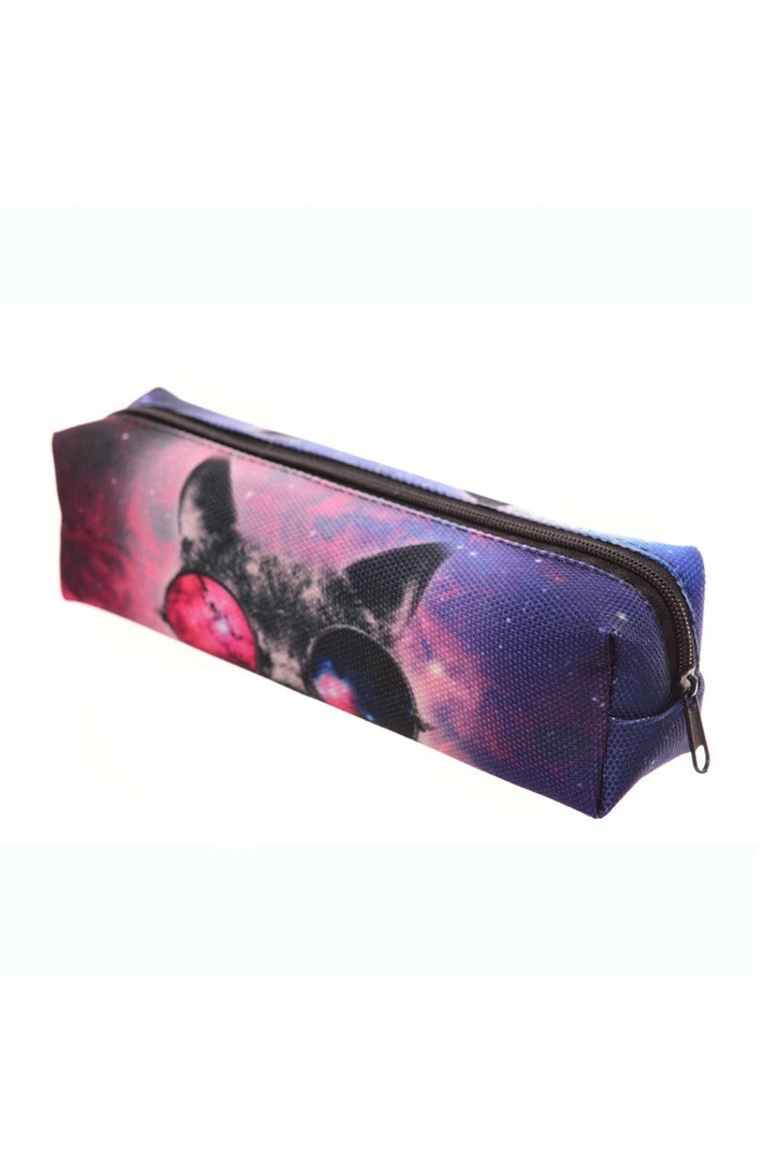 45 degree view of Galaxy Glasses Cat Rectangular Graphic Print Pencil Cosmetics Case - 26 Assorted Styles