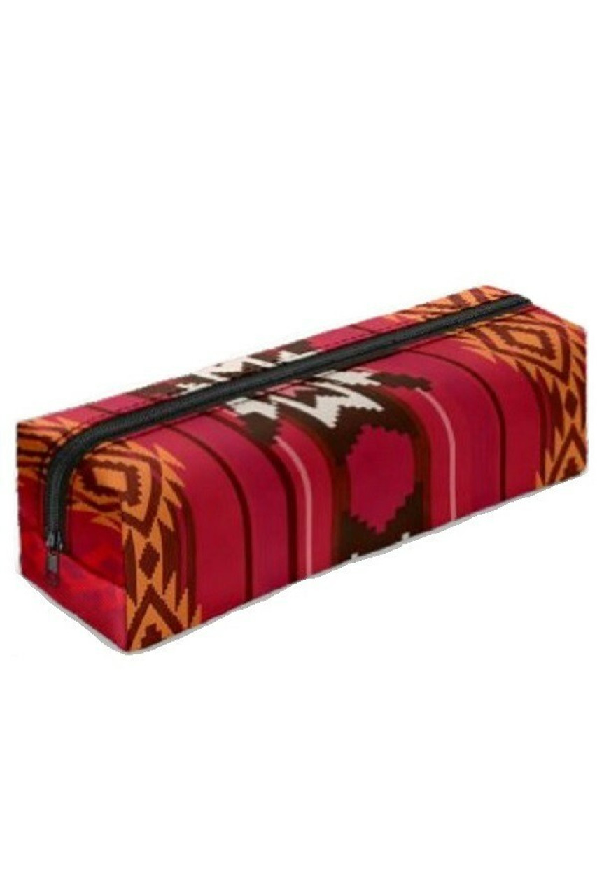 Red Tribal Rectangular Graphic Print Pencil Cosmetics Case - 26 Assorted Styles