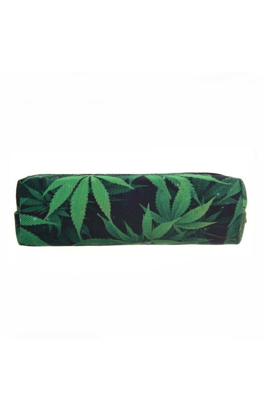 Green Marijuana Rectangular Graphic Print Pencil Cosmetics Case - 26 Assorted Styles