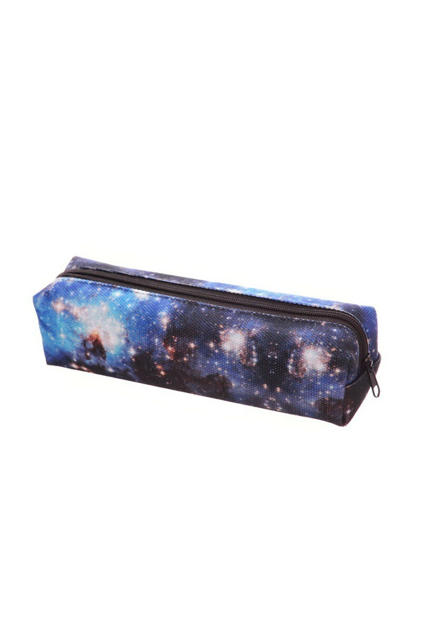 45 degree view of Blue Gakaxy Rectangular Graphic Print Pencil Cosmetics Case - 26 Assorted Styles