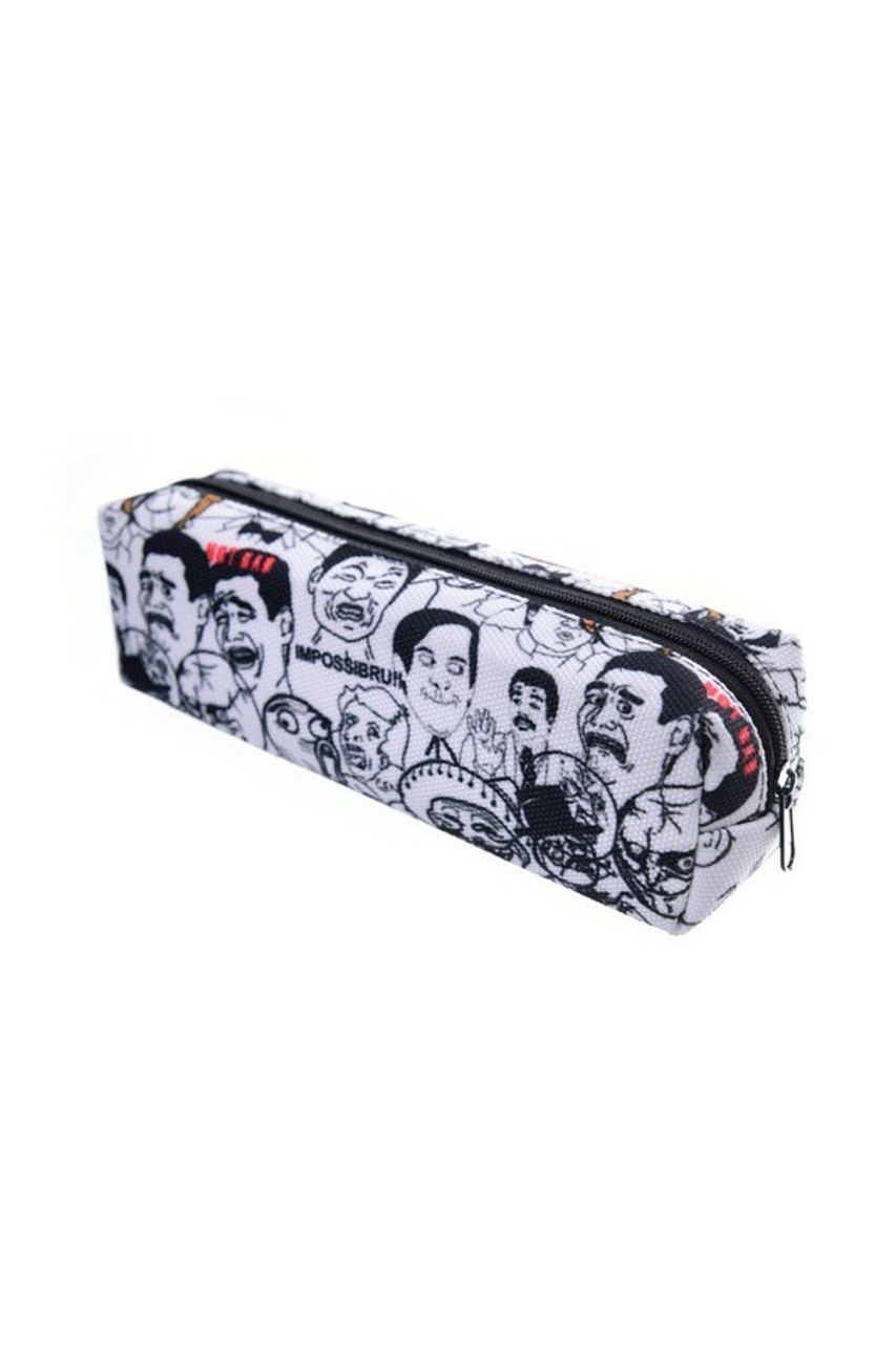 45 degree view of Meme Rectangular Graphic Print Pencil Cosmetics Case - 26 Assorted Styles