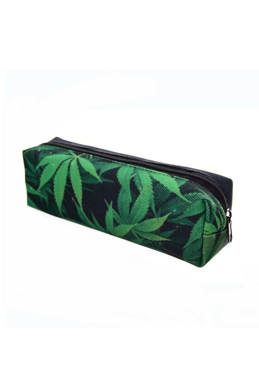 45 degree view of Green Marijuana Rectangular Graphic Print Pencil Cosmetics Case - 26 Assorted Styles