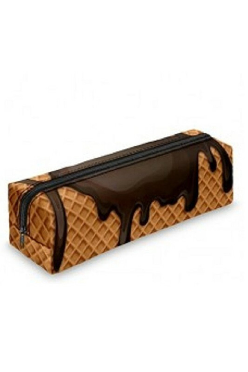 45 degree view of Chocolate Dipped Waffle Cone Rectangular Graphic Print Pencil Cosmetics Case - 26 Assorted Styles