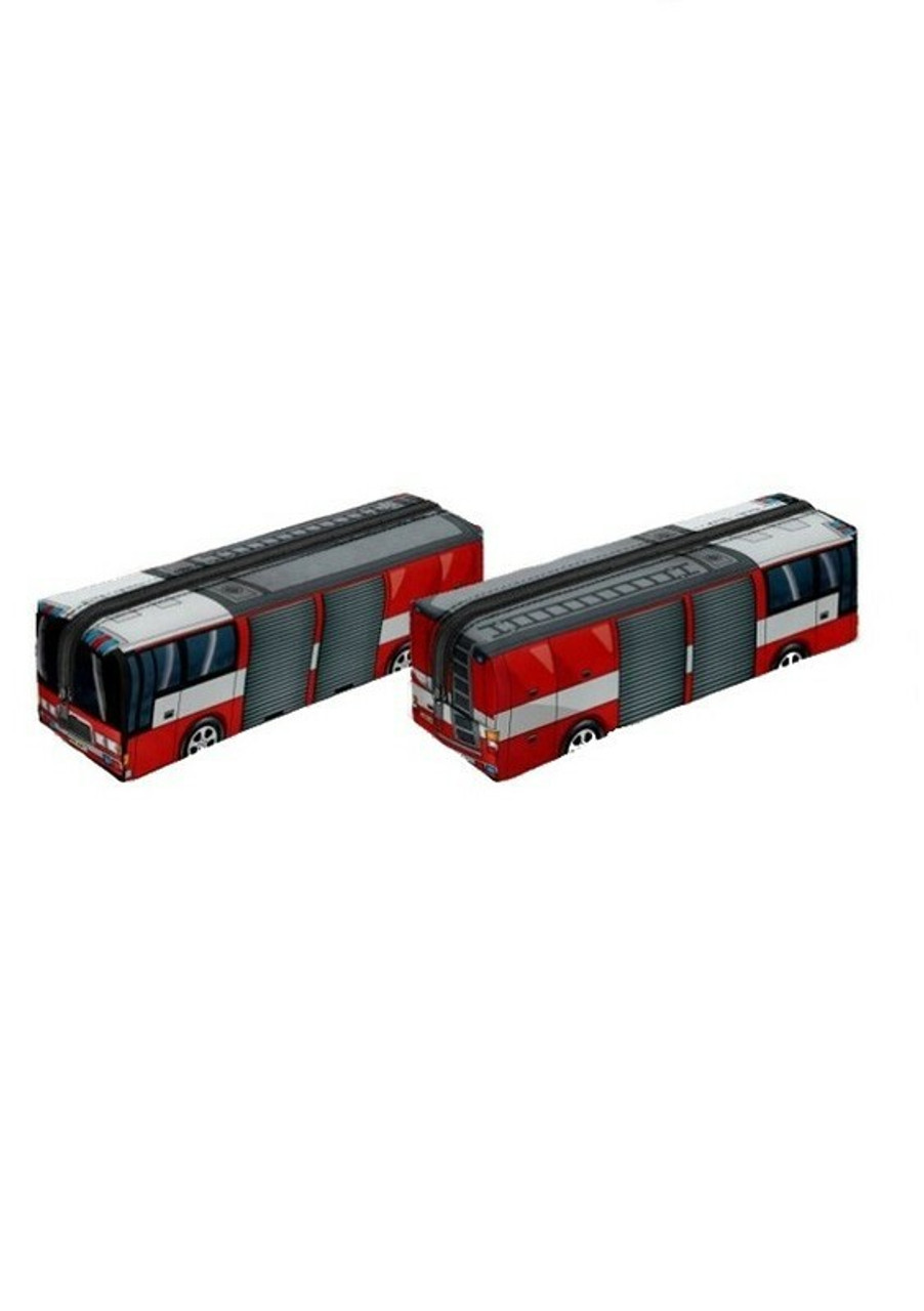 Both sides of Fire Truck Rectangular Graphic Print Pencil Cosmetics Case - 26 Assorted Styles