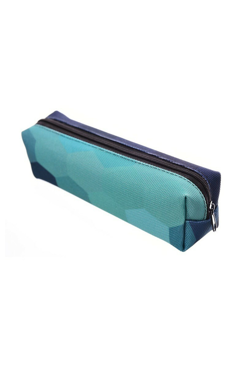 45 degree view of Green Hexagon Rectangular Graphic Print Pencil Cosmetics Case - 26 Assorted Styles