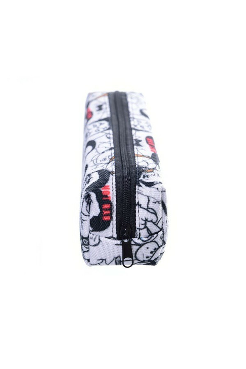 End view of Meme Rectangular Graphic Print Pencil Cosmetics Case - 26 Assorted Styles