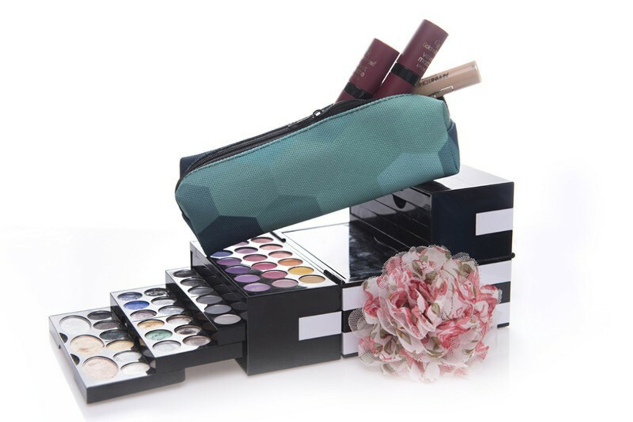 Green Hexagon Rectangular Graphic Print Pencil Cosmetics Case - 26 Assorted Styles on top of