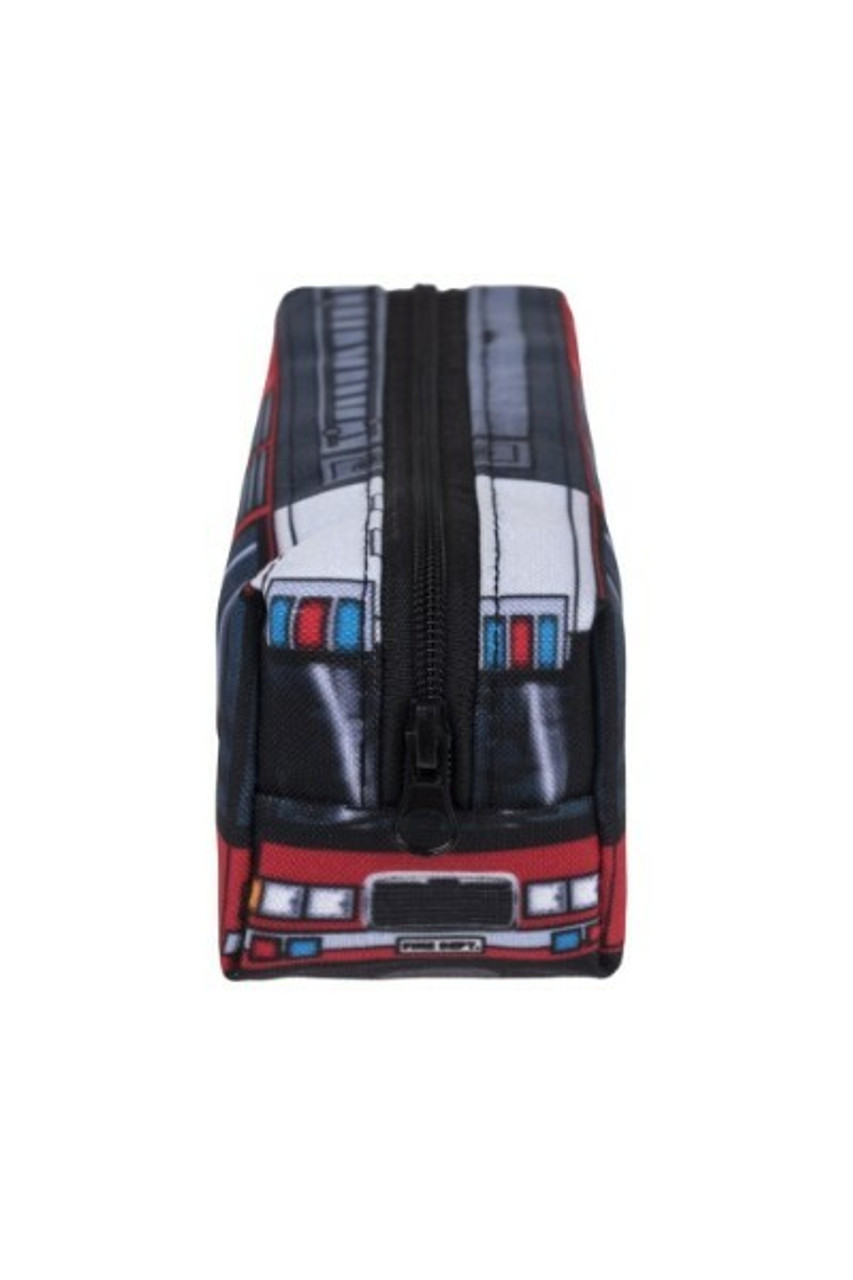 End view of Fire Truck Rectangular Graphic Print Pencil Cosmetics Case - 26 Assorted Styles