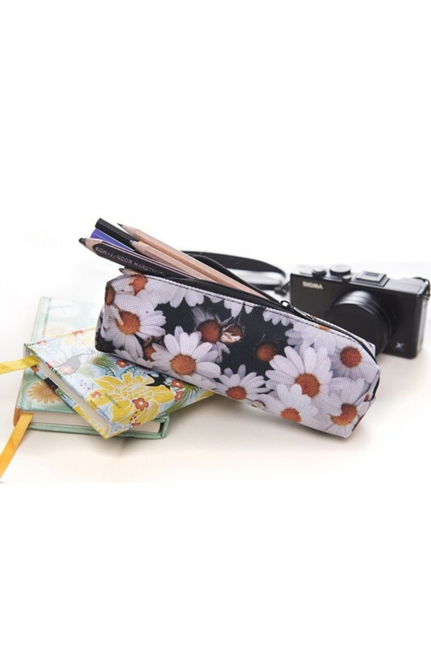 Open view of Dasiy Rectangular Graphic Print Pencil Cosmetics Case - 26 Assorted Styles