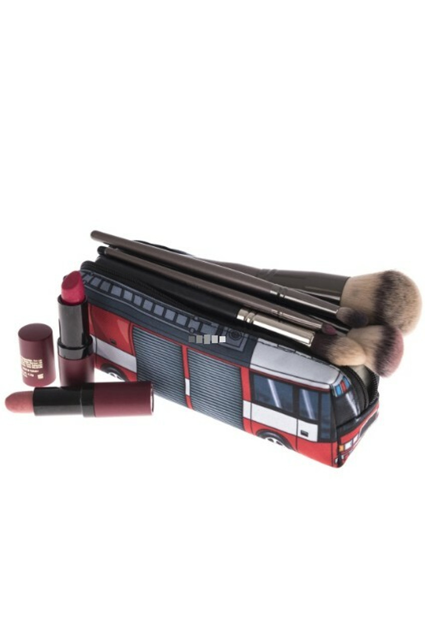 Open view of FIre Truck Rectangular Graphic Print Pencil Cosmetics Case - 26 Assorted Styles