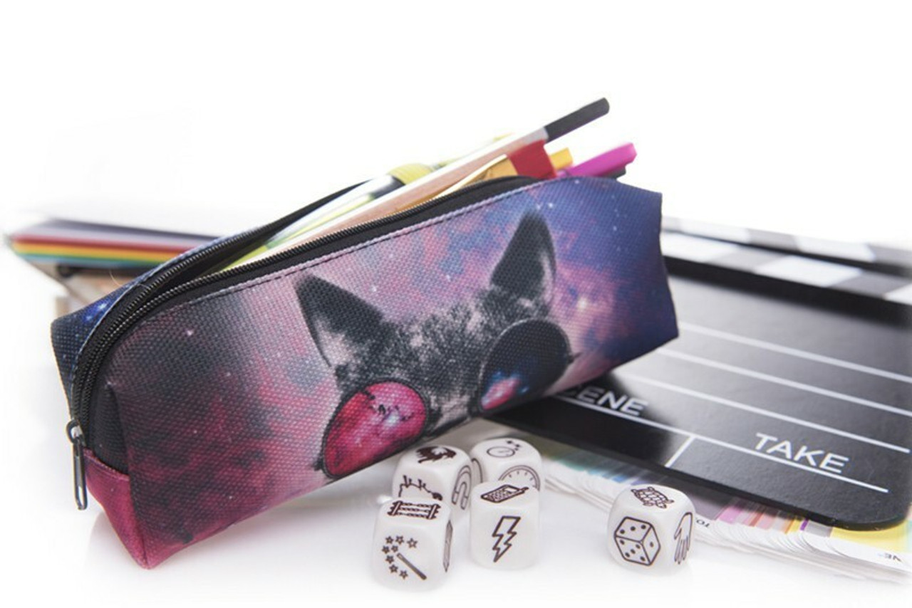 Galaxy Glasses Cat Rectangular Graphic Print Pencil Cosmetics Case - 26 Assorted Styles pictured with pencils, a clap board, and dice