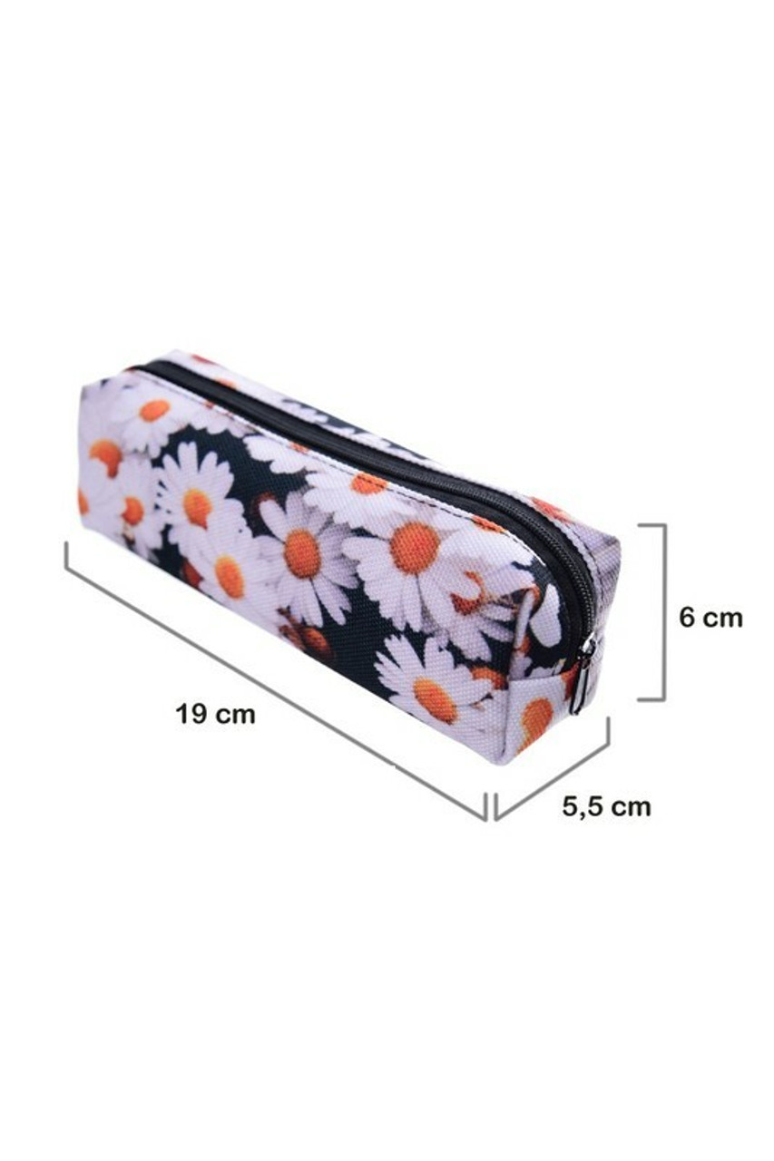 45 degree view of daisy Rectangular Graphic Print Pencil Cosmetics Case - 26 Assorted Styles with dimensiosn