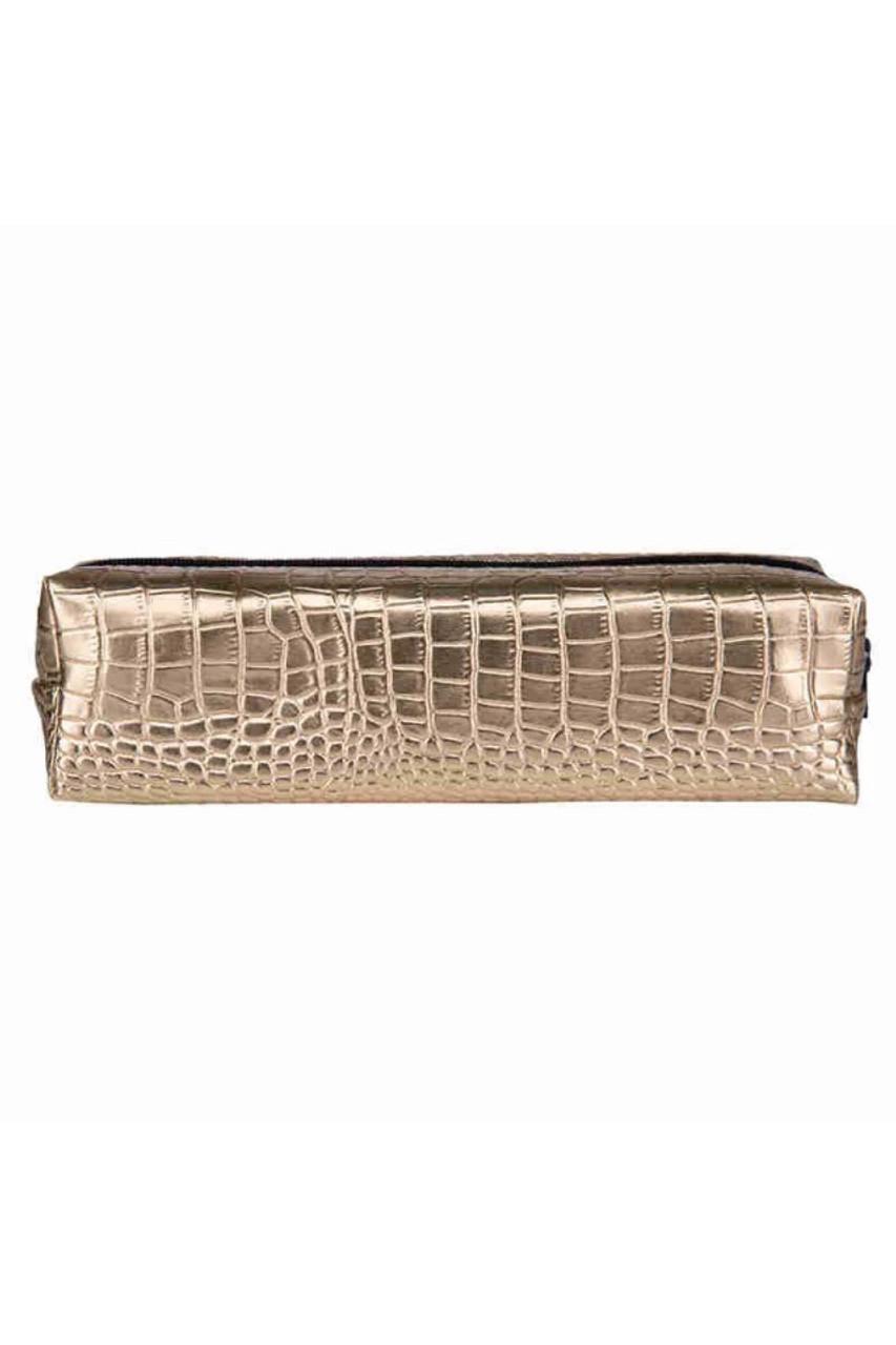 Gold Crocodile Faux Leather Print Pencil Case