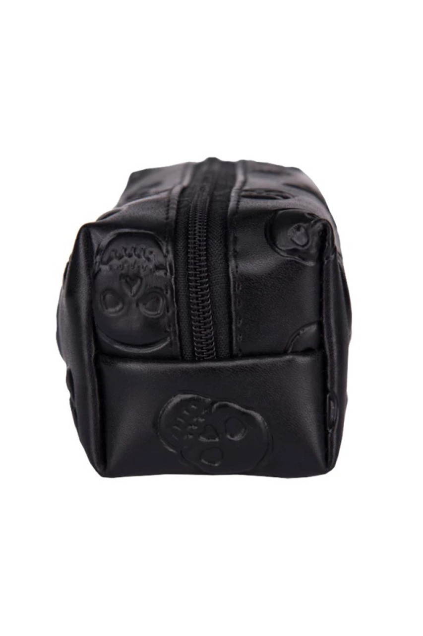 Black Embossed Skulls Faux Leather Print Pencil Case - 7 Styles