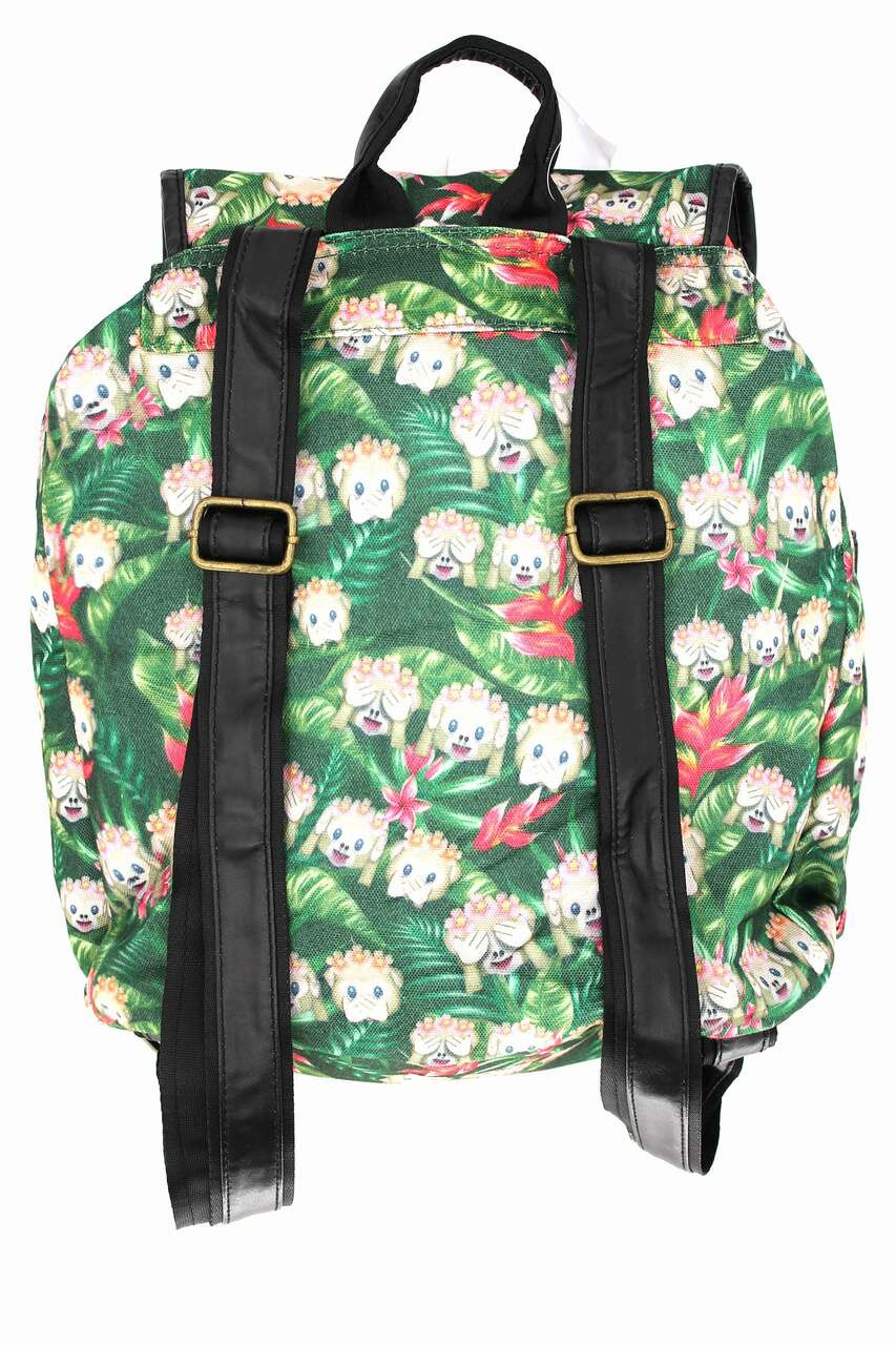 Back of Jungle Monkey Emoji Graphic Print Buckle Flap Backpack with adjustable faux leather straps