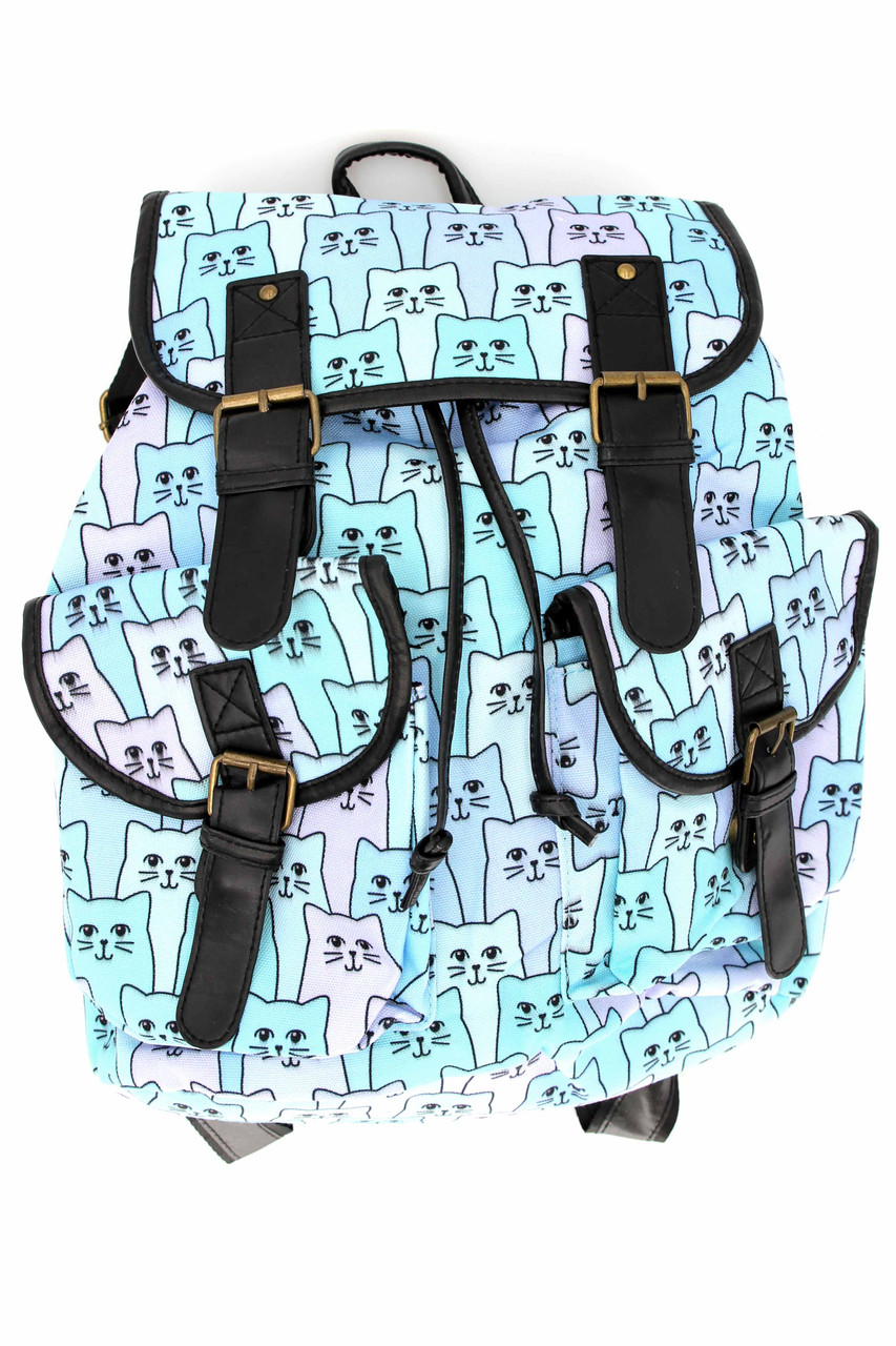 Front side of Blue Kitty Cats Graphic Print Buckle Flap Backpack with a large main compartment and two smaller front pockets
