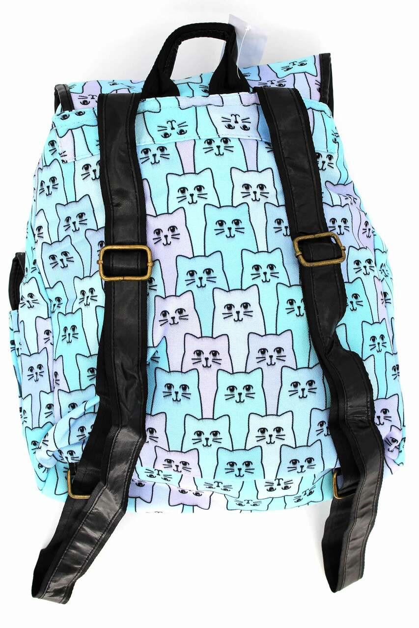 Back side image of Blue Kitty Cats Graphic Print Buckle Flap Backpack with adjustable faux leather straps