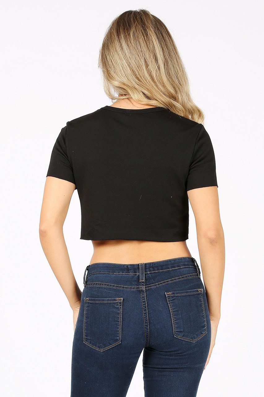 Back side image of Black Solid Basic French Terry Short Sleeve Crop Top