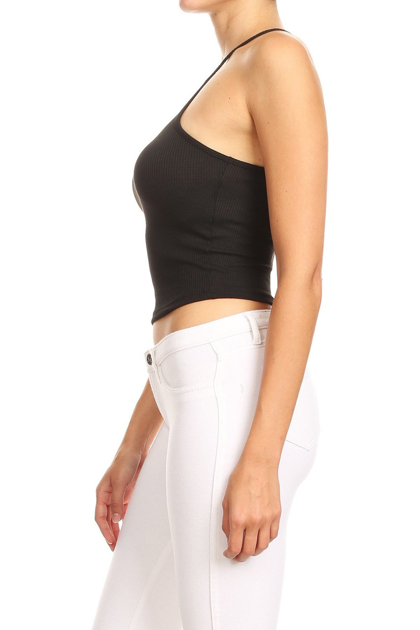 Left side of Black Solid Basic Thermal Spaghetti Strap  Racerback Top