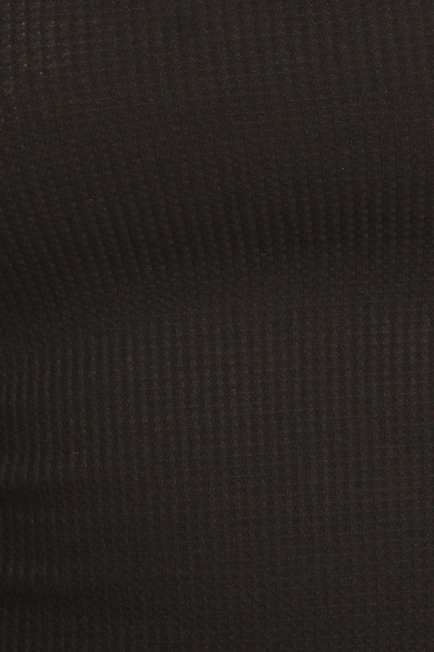 Close-up fabric swatch of Black Solid Basic Thermal Spaghetti Strap  Racerback Top