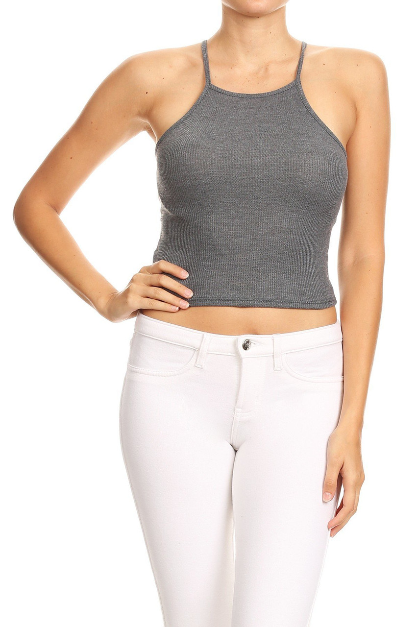 Front side of Charcoal Solid Basic Thermal Spaghetti Strap  Racerback Top