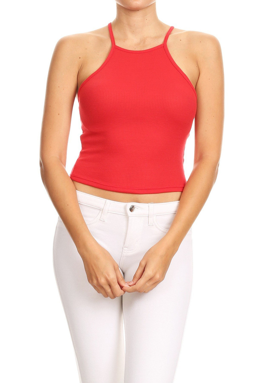 Front side image of Red Solid Basic Thermal Spaghetti Strap  Racerback Top