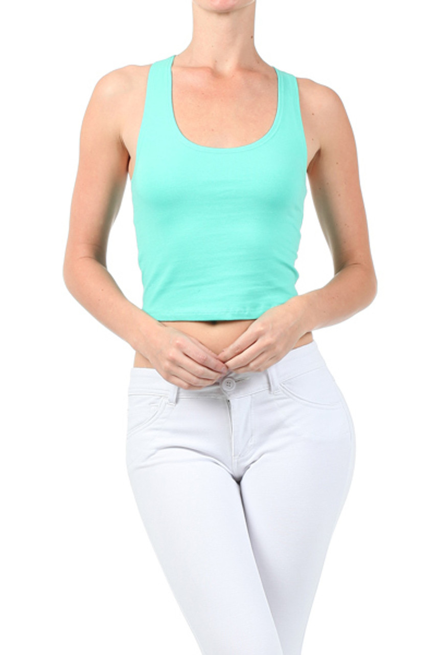 Front side image of Mint Solid Basic Cotton Racerback Tank Crop Top