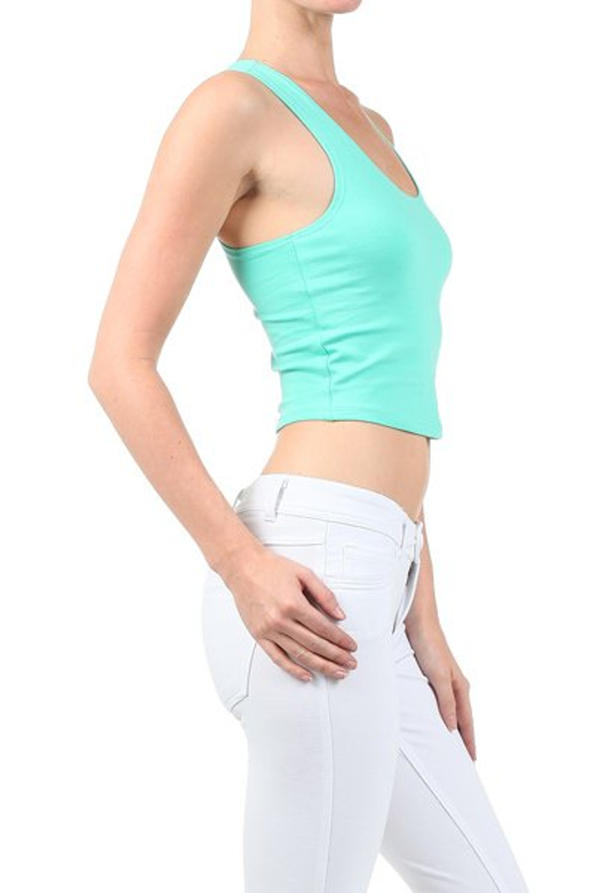Right side image of Mint Solid Basic Cotton Racerback Tank Crop Top
