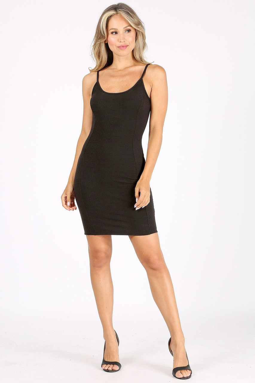 Front side image of Solid Basic Ribbed Spaghetti Strap Bodycon Midi Dress shown styled with black open toe heels