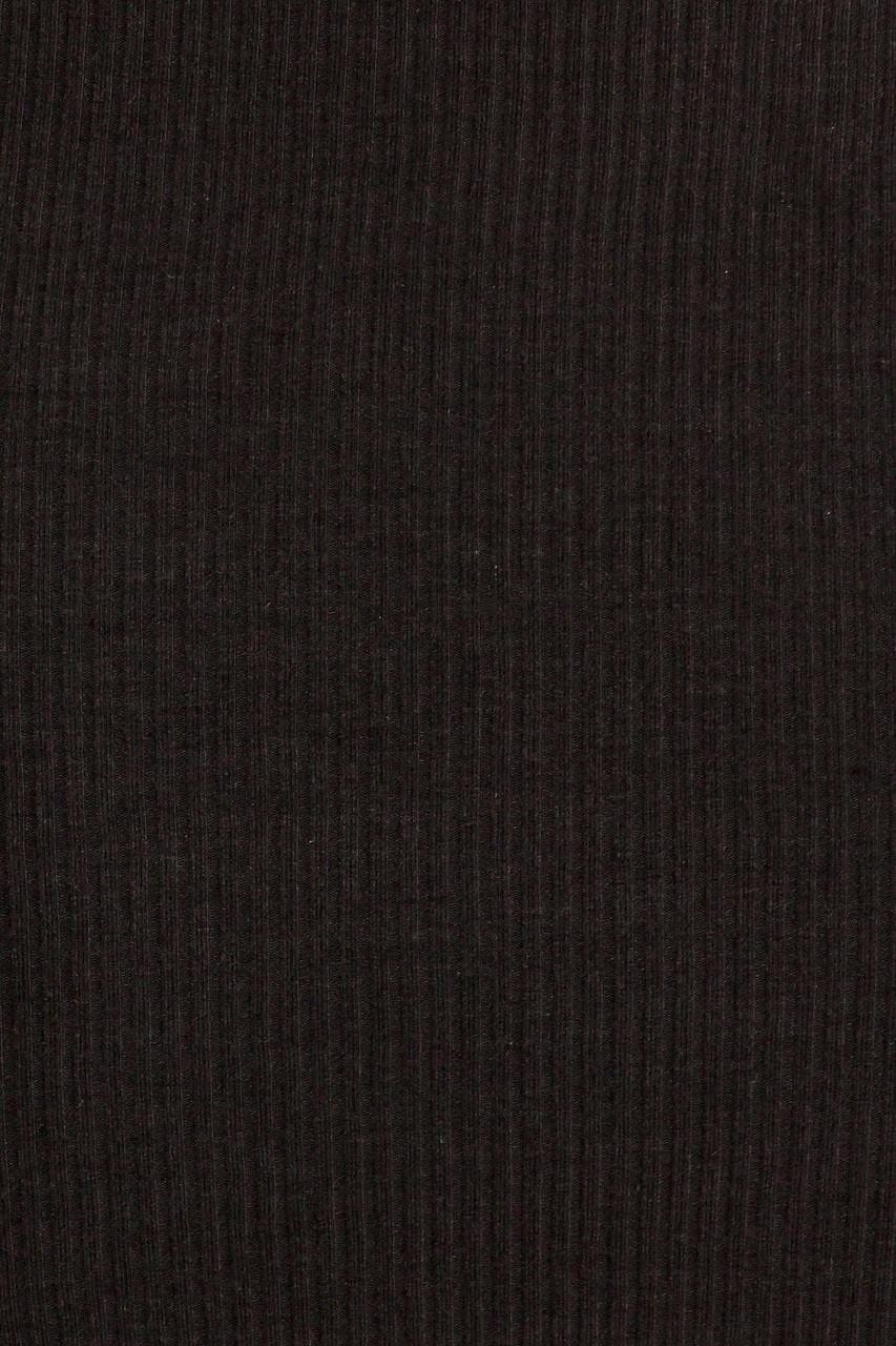 Close-u fabric swatch of Black Solid Basic Ribbed Spaghetti Strap Bodycon Midi Dress