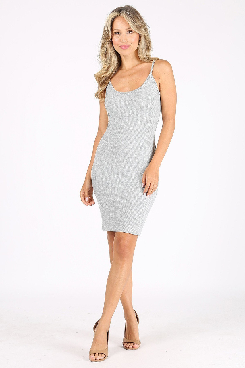 Front side image of Heather Gray Solid Basic Ribbed Spaghetti Strap Bodycon Midi Dress