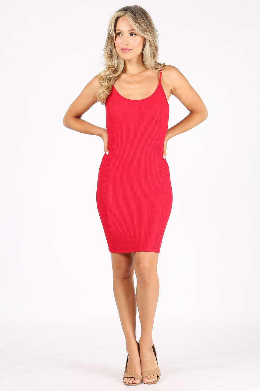 Front side image of Red Solid Basic Ribbed Spaghetti Strap Bodycon Midi Dress shown teamed with nude open toed heels