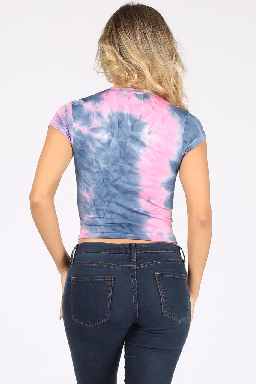 Back side image of Pink / NavyTie Dye Ccrew Neck Cap Sleeve Crop Top