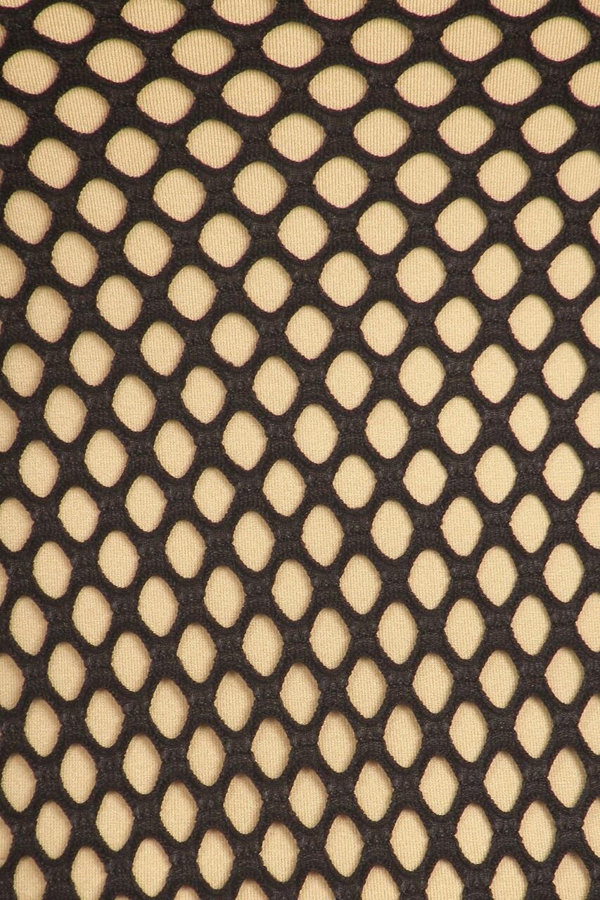 Close up of Black Fishnet Mesh Side Slit Overlay Tank Midi Dress