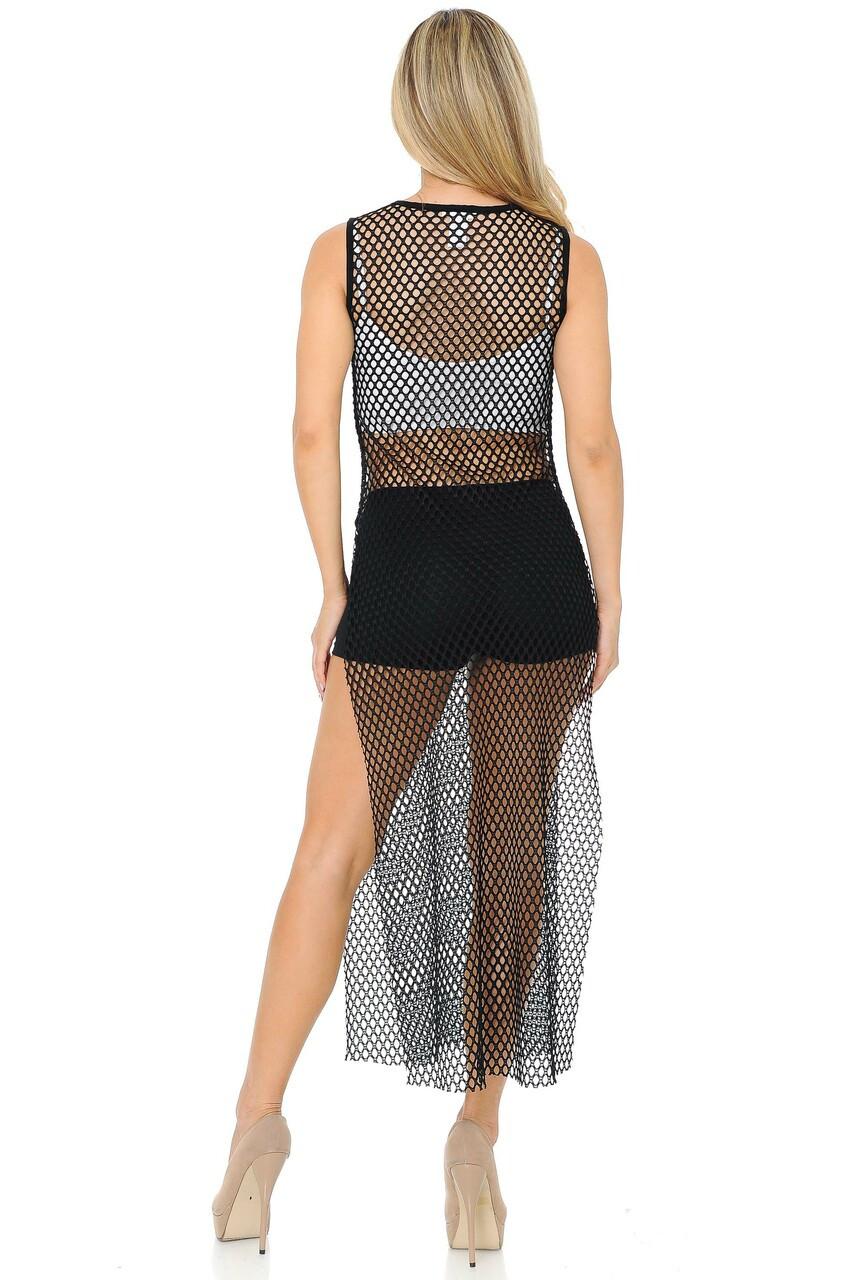 Back side image of Black Fishnet Mesh Side Slit Overlay Tank Midi Dress