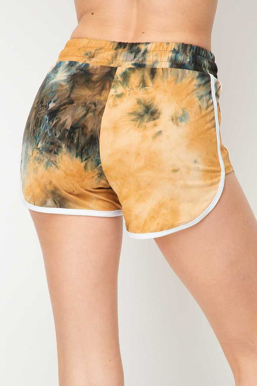 Back side image of Buttery Soft Camel Tie Dye Side Striped Drawstring Waist Dolphin Shorts
