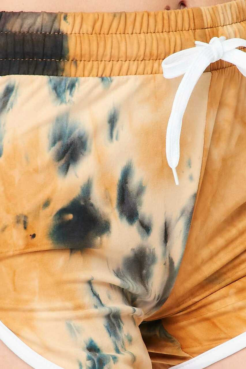 Close-up of Buttery Soft Camel Tie Dye Side Striped Drawstring Waist Dolphin Shorts