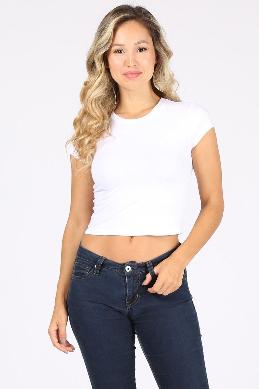 Front side image of White Solid Basic Cotton Short Sleeve Crop Top
