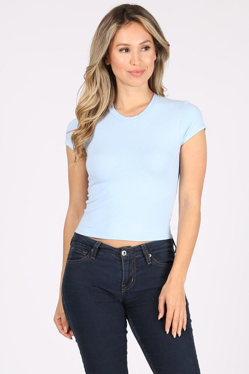 Front side image of Light Blue Solid Basic Cotton Short Sleeve Crop Top