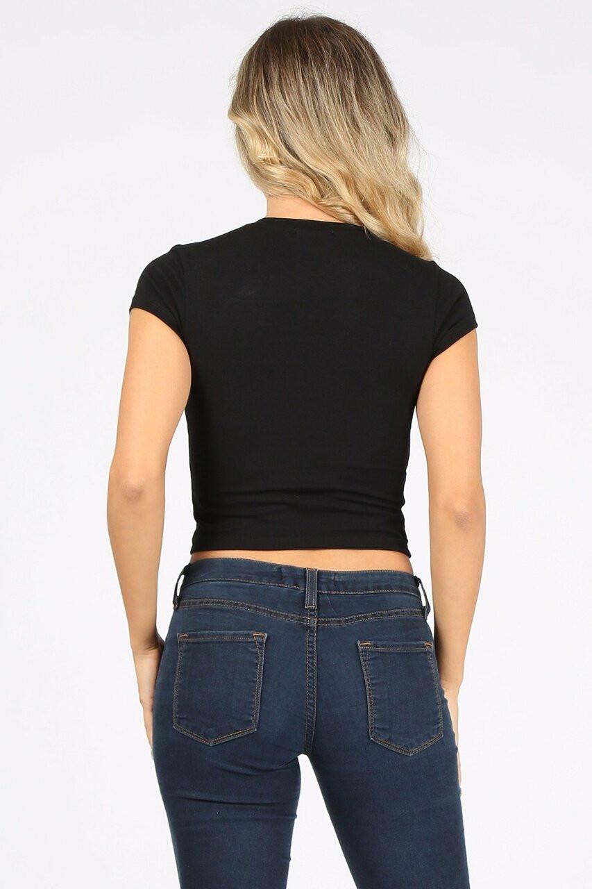 Back side image of Black Solid Basic Cotton Short Sleeve Crop Top
