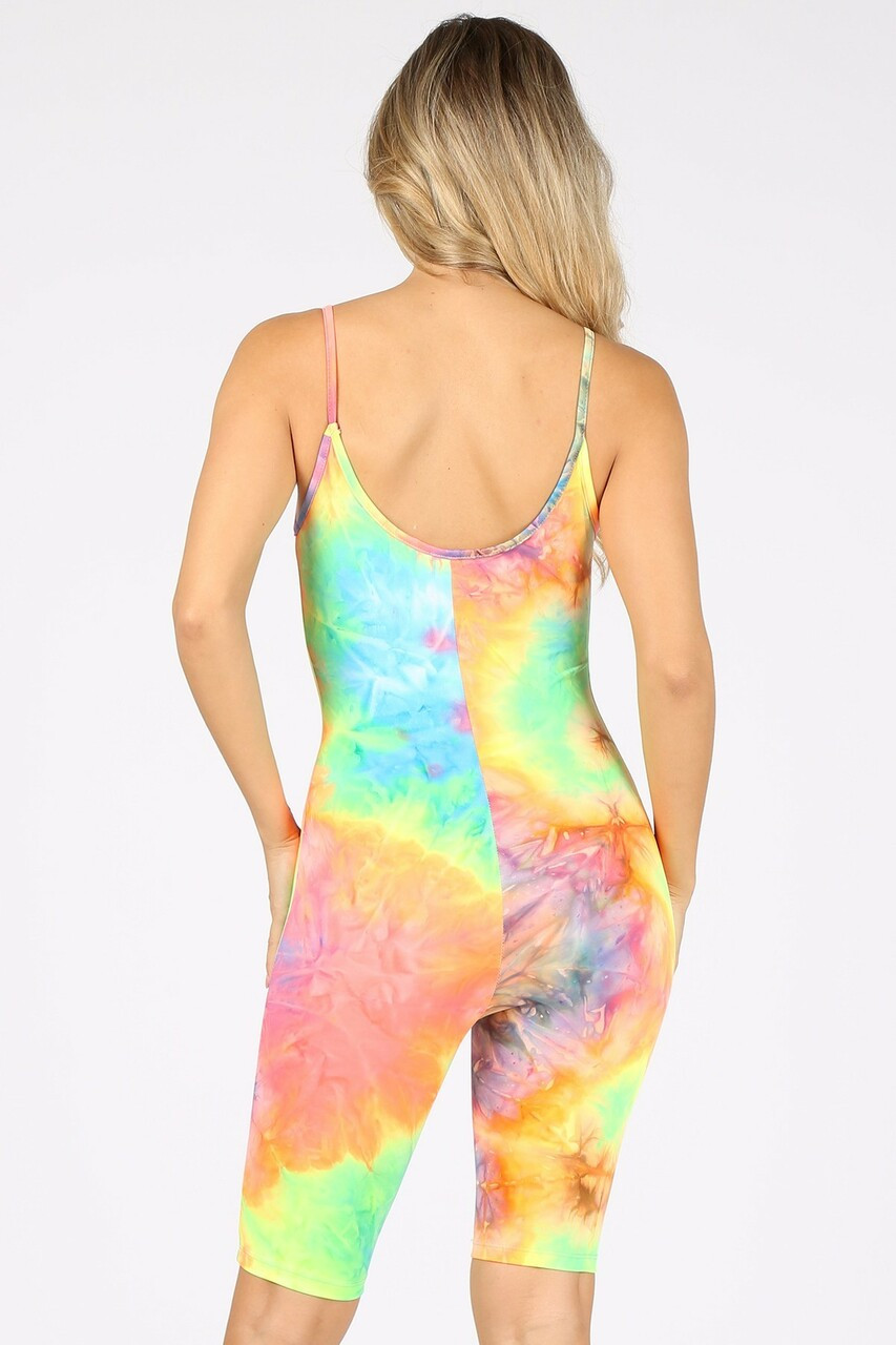 Back view of Tie Dye Thigh Shorts Spaghetti Strap Jumpsuit with vibrant and colorful design that is perfect for Spring and Summer