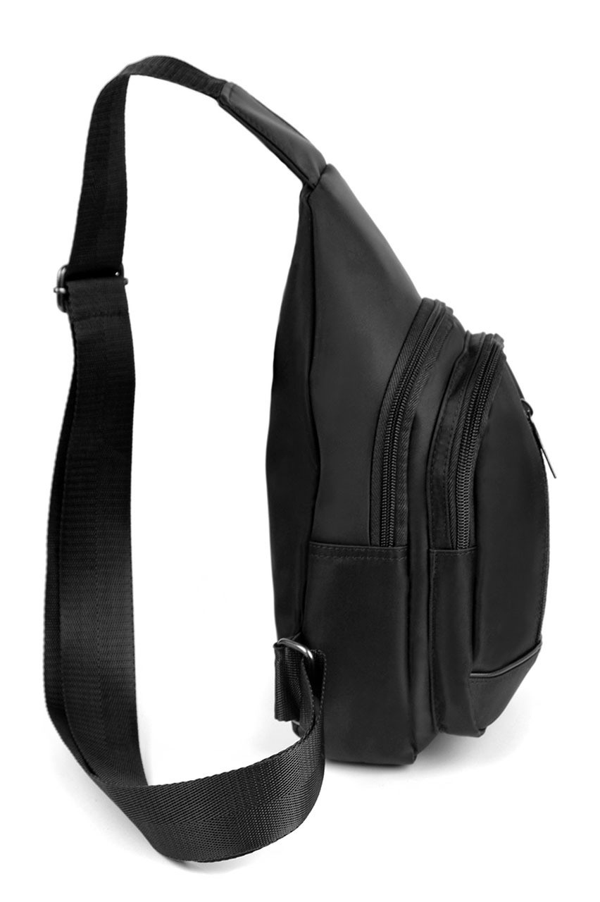 Black Nylon Crossbody Sling Bag with 3 Front Zipper Compartments