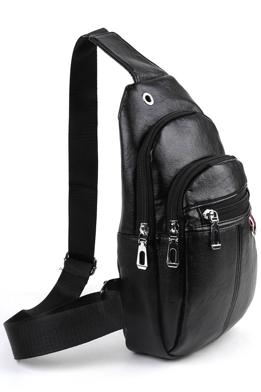 45 degree view of Black Faux Leather Crossbody Sling Bag with Headphone Hole and Zipper Compartments