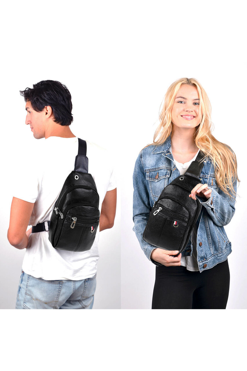 Models shown wearing Black Faux Leather Crossbody Sling Bag with Headphone Hole and Zipper Compartments on the front and back