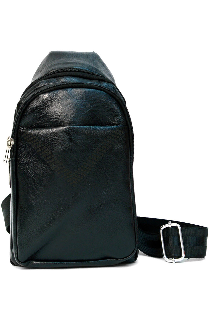 Front of Black Faux Leather Crossbody Sling Bag with Front Pocket and Zipper Compartments